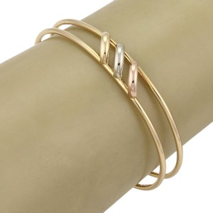 Cartier Trinity 18k Tri-Color Gold Open Double Wire Cuff Bracelet
