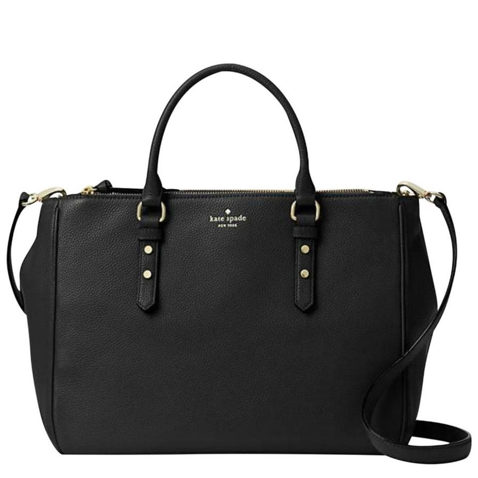 4a7587ce45 Kate Spade Leighann Mulberry Street Double Zip Satchel Handbag Crossbody  Black Pebbled Leather Tote