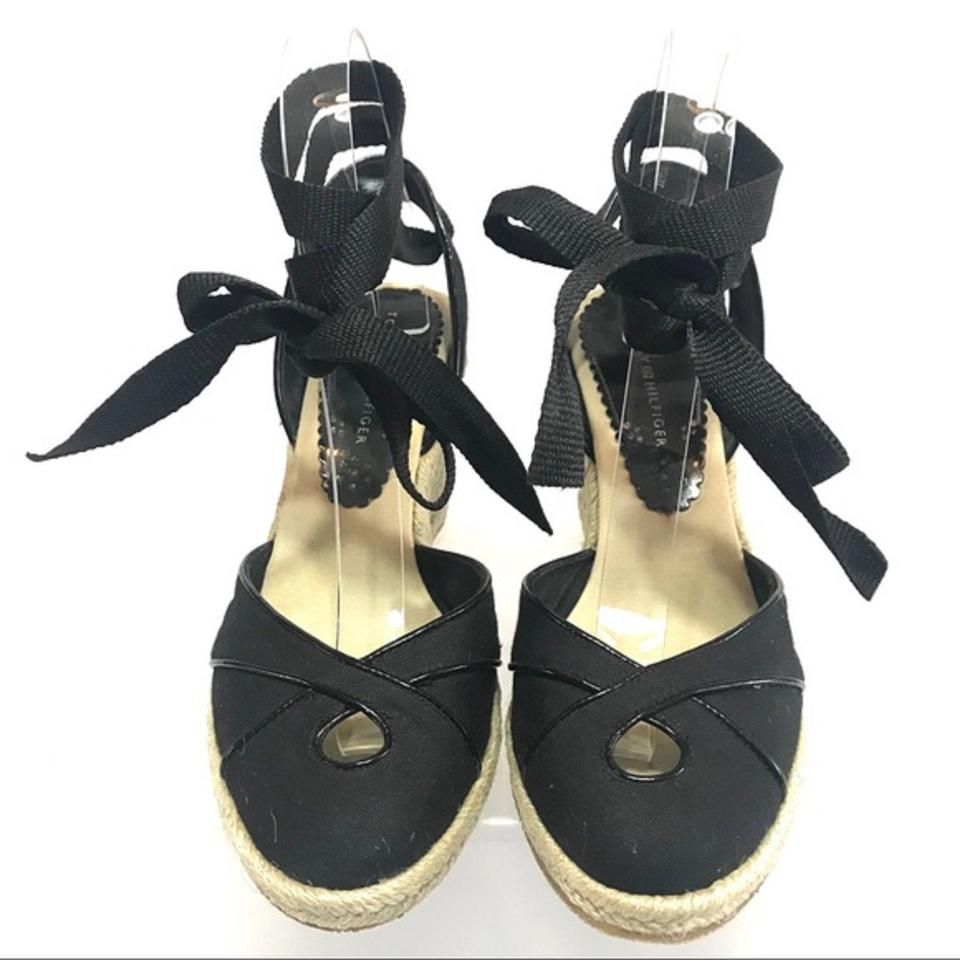 11cb02011aa6 Tommy Hilfiger Black Women s Espadrilles Wedges Size US 7.5 Regular ...