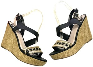 Fergalicious by Fergie Beaded Ankle Strap Black Wedges