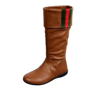 Gucci Unisex Kids Leather Signature Web Detail Brown Boots