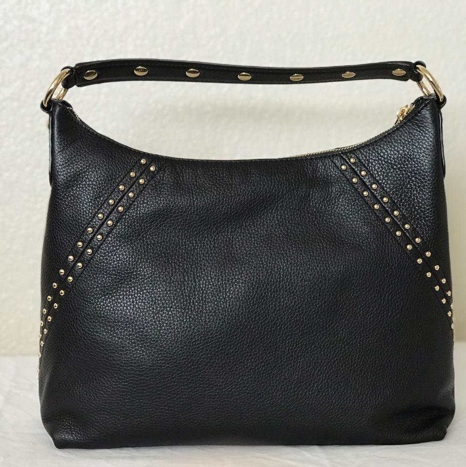 51799220695b Michael Kors Studded Aria Medium Top Zip Black Pebbled Leather Shoulder Bag  - Tradesy