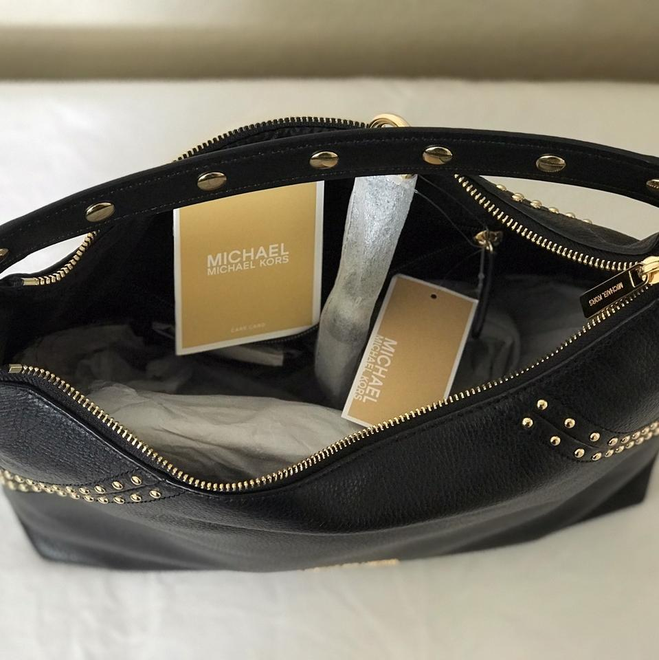 f49cfc0b6db2 Michael Kors Studded Aria Medium Top Zip Black Pebbled Leather ...