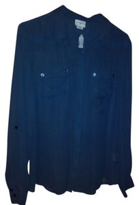 Jaclyn Smith Button Down Shirt Blue
