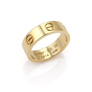Cartier Love 18k Yellow Gold 5.5mm Band Ring Size 52 w/Cert