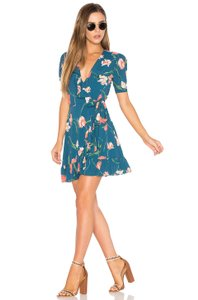 Privacy Please short dress Teal Floral on Tradesy