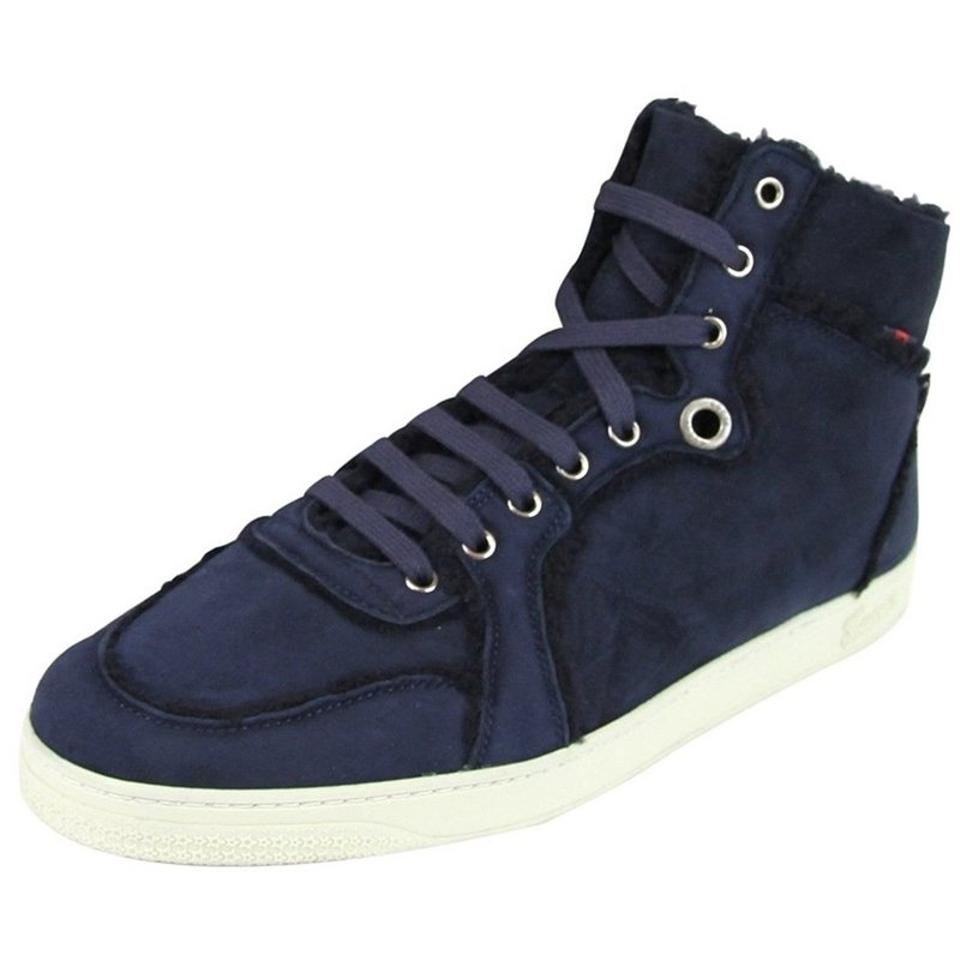 356eb2f73 Gucci Men's Shearling High-top Sneaker Navy Blue Athletic Image 0 ...  Rhyton Web print leather sneaker. Gucci Sneakers