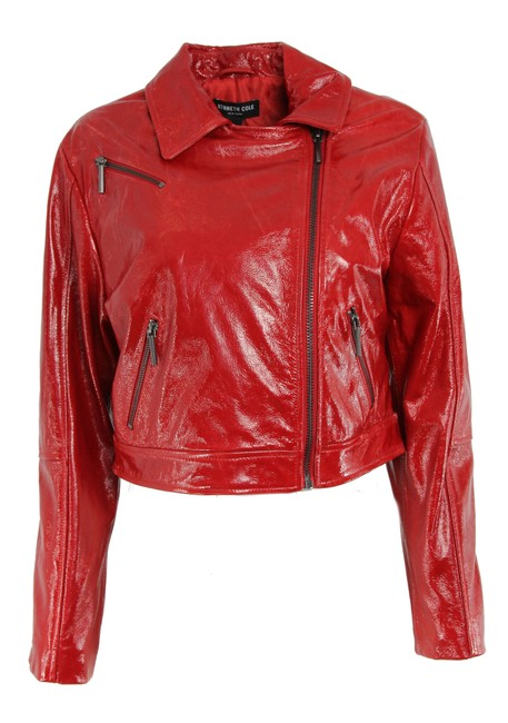 Item - Red Cropped Patent Leather Moto Jacket Size 4 (S)