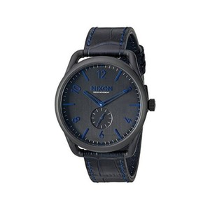 Nixon A465-2153 Men's Blue Leather Band With Black Analog Dial Watch