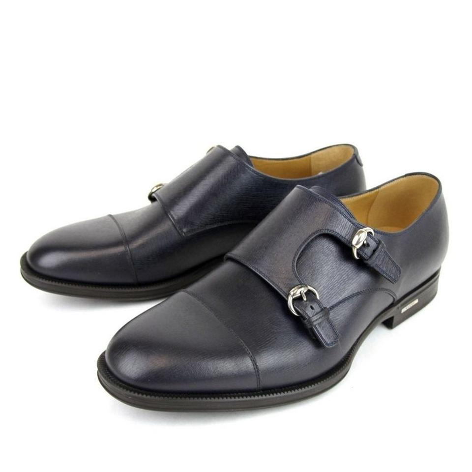 62aac47b45531 Gucci Navy Blue Horsebit Men's Leather Double Buckle Loafer 322478 4009  Flats