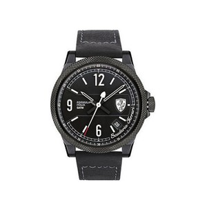 Ferrari 830272 Men's Black Leather Band With Black Analog Dial Watch