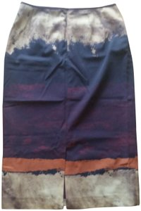 Lafayette 148 New York Wool Print Fall Skirt Mauve