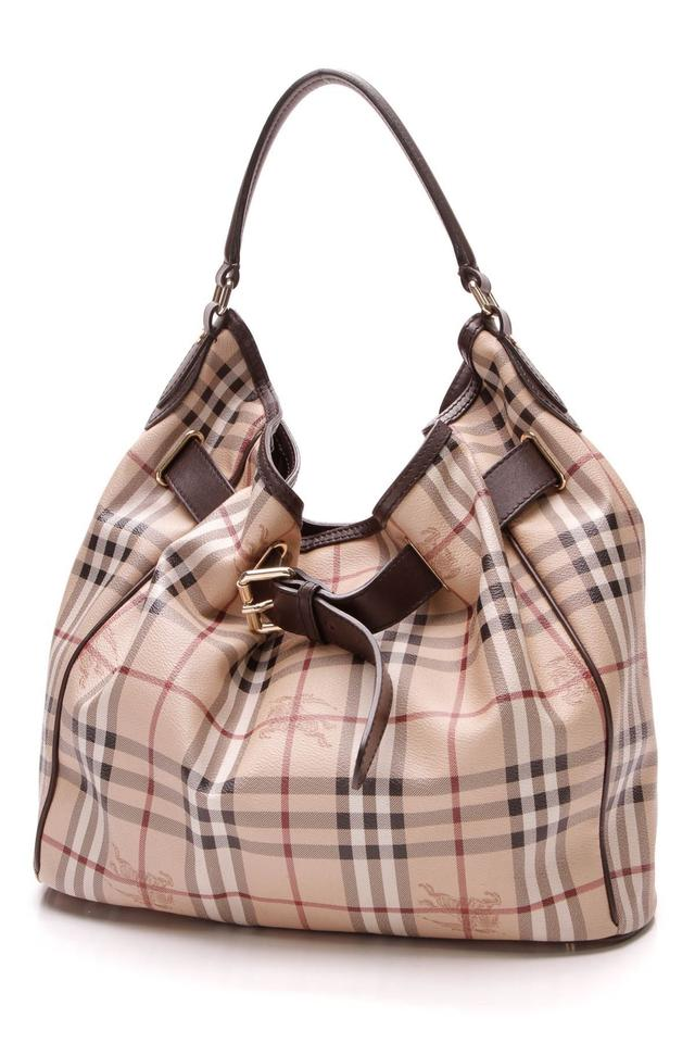 232c8a3aed9a Burberry Walden Medium - Haymarket Check Beige Coated Canvas Hobo ...