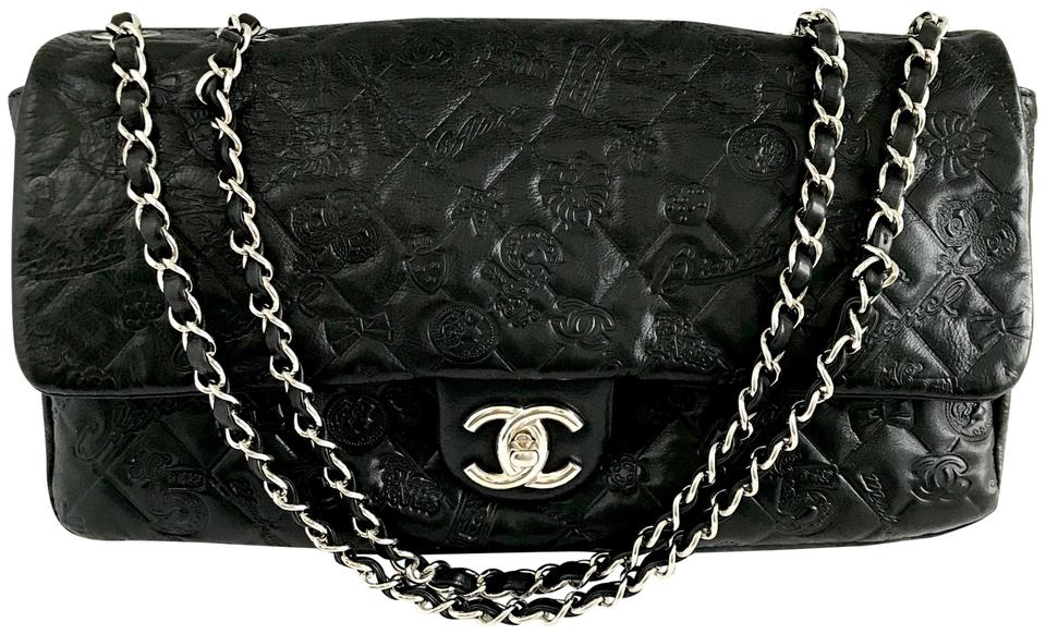 6040c4072336 Chanel Classic Large Flap Embossed Symbol Lucky Charms Black Leather ...
