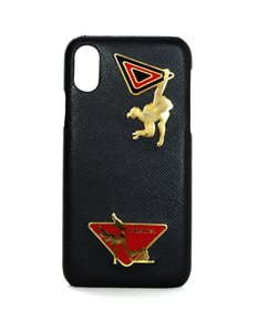 Prada Embellished Textured Saffiano Leather iPhone X Case
