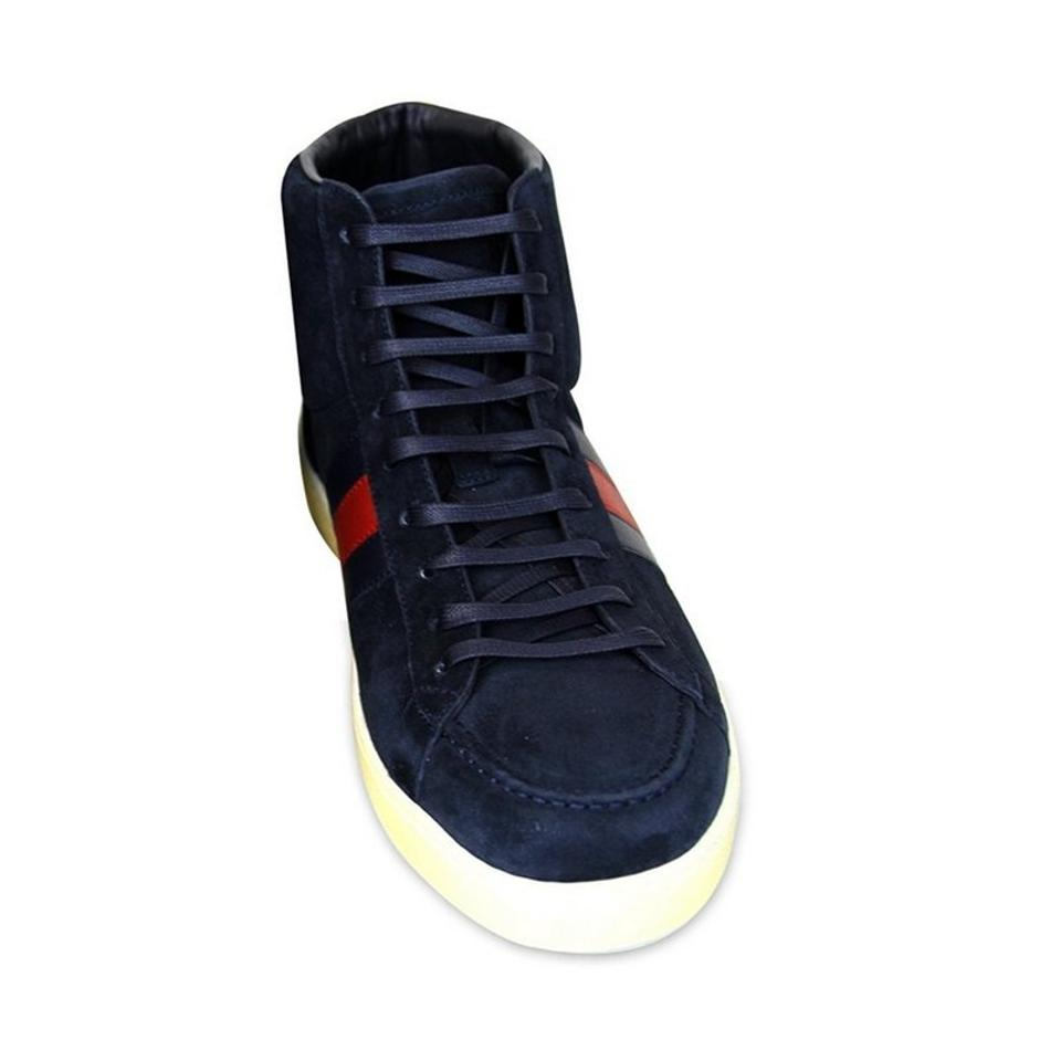 59a1f8fd8ef Gucci Navy Men's Suede Brb Leather Web Detail High-top 337221 Sneakers Size  US 13 Regular (M, B)