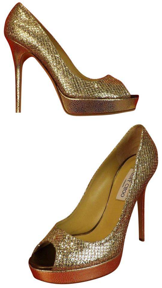1e624e3121cd Jimmy Choo Gold Crown Champagne Glitter Fabric Peep Toe Platform ...