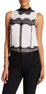 Alice + Olivia Sleeveless Lace Trim Silk Top White & Black