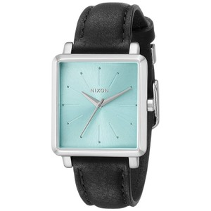 Nixon A4722095 Women's Black Leather Band With Green Analog Dial Watch