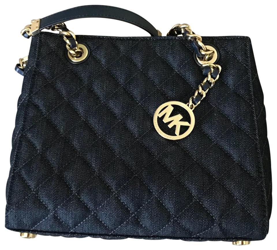 44ffdbb30f Michael Kors Small Mk North South Susannah Dark Denim Gold Hardware ...