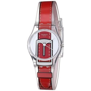 Swatch LK330 Women's Red Plastic Band With White Analog Dial Watch