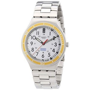 Swatch YGS462G Unisex Silver Steel Bracelet With White Analog Dial Watch