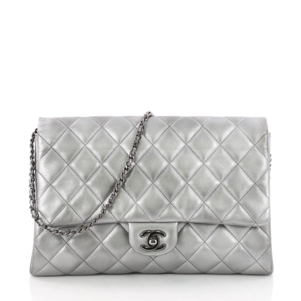3f943347423e Chanel Clutch With Chain Quilted Silver Lambskin Leather Clutch ...