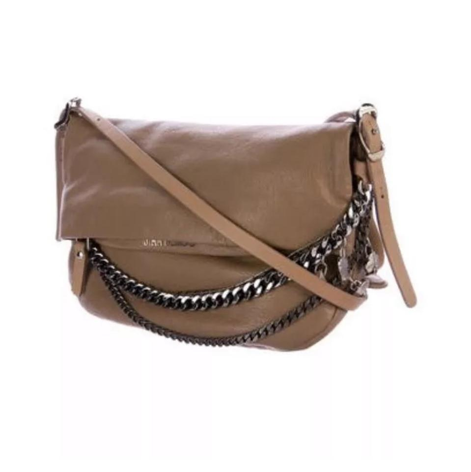 0c77f5a3d38 Jimmy Choo Biker Small Taupe Lambskin Leather Cross Body Bag - Tradesy