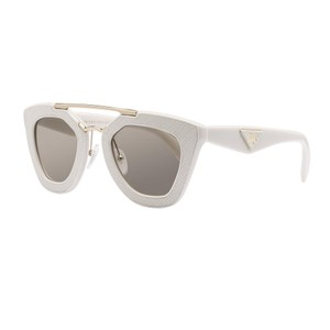 Prada Prada ivory ornate saffiano leather cinema sunglasses
