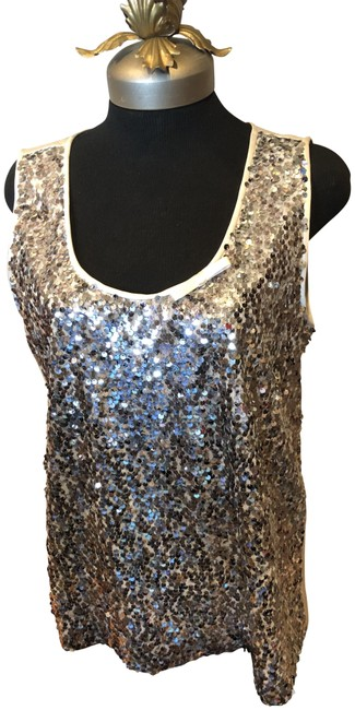 Item - Silver Sequines On Off White Satin Tank Style Tunic Size 12 (L)