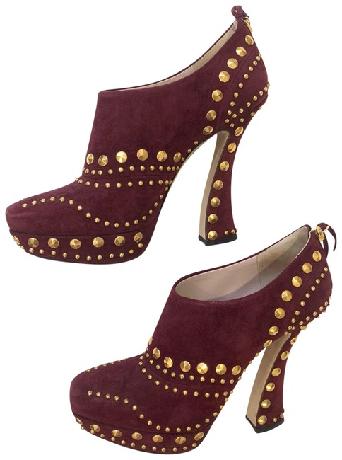 Item - Burgundy/Gold Suede Studded Boots/Booties Size EU 40 (Approx. US 10) Regular (M, B)
