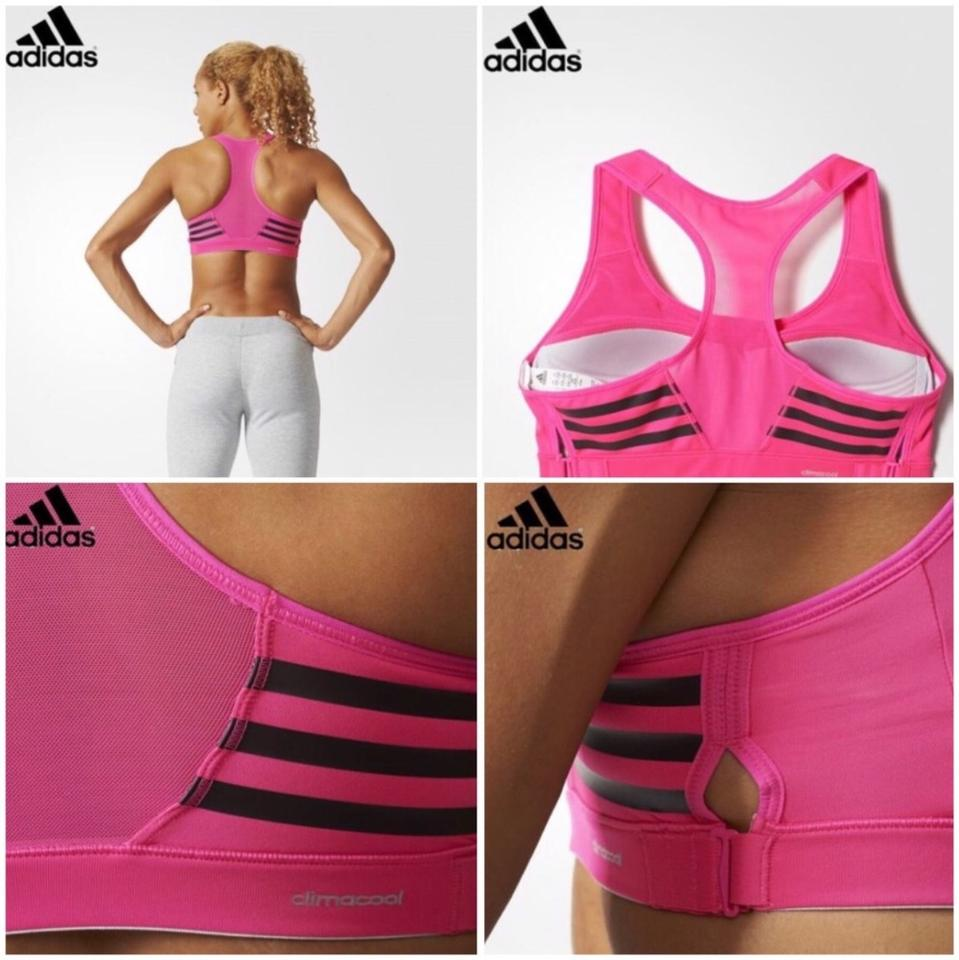 bca5d50a55eaa adidas New Pink 3-stripes Racer-back Shock Activewear Sports Bra ...