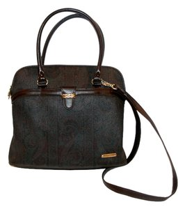 Liz Claiborne Cross Body Crossbody Zip Top Satchel in Brown paisley