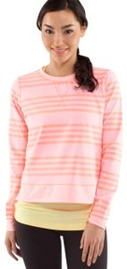Lululemon Lululemon Womens 10 Run Warm Up Crew Zip Back Coral Pink Striped Long