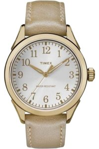 Timex TW2P99300 Women's Brown Leather Band With White Analog Dial Watch