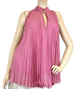 Gucci Women's Pink Silk Buttons Pleated Halter Tip 307275 (Size: 42)