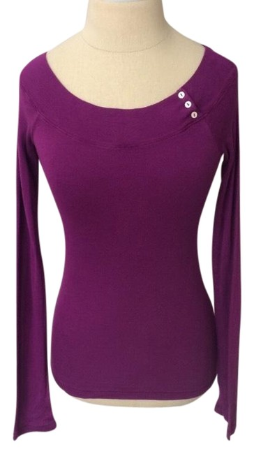 Splendid Purple Long Sleeve Boatneck Button Accent Blouse Size 4 (S) Splendid Purple Long Sleeve Boatneck Button Accent Blouse Size 4 (S) Image 1