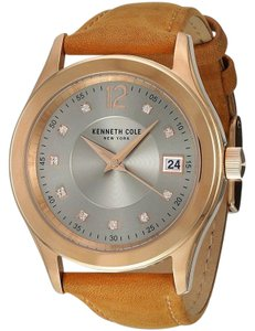 Kenneth Cole 10030801 Women's Brown Leather Band With Silver Analog Dial Watch