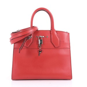Louis Vuitton Handbag Leather Tote in red