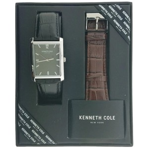 Kenneth Cole 10031385 Men's Black Leather Band With Green Analog Dial Watch