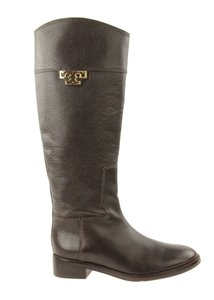 Tory Burch Leather Winter Pebbled Zipper Brown Boots