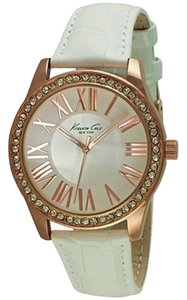 Kenneth Cole 10029553 Women's White Leather Band With White Analog Dial Watch