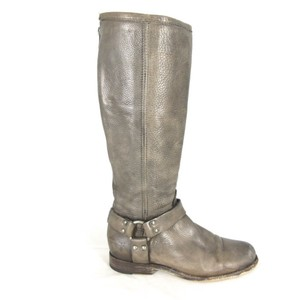 Frye Harness Leather Distressed Gray Boots