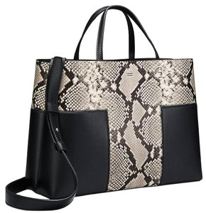 Tory Burch Fall Winter Tote in natural black snakeskin new
