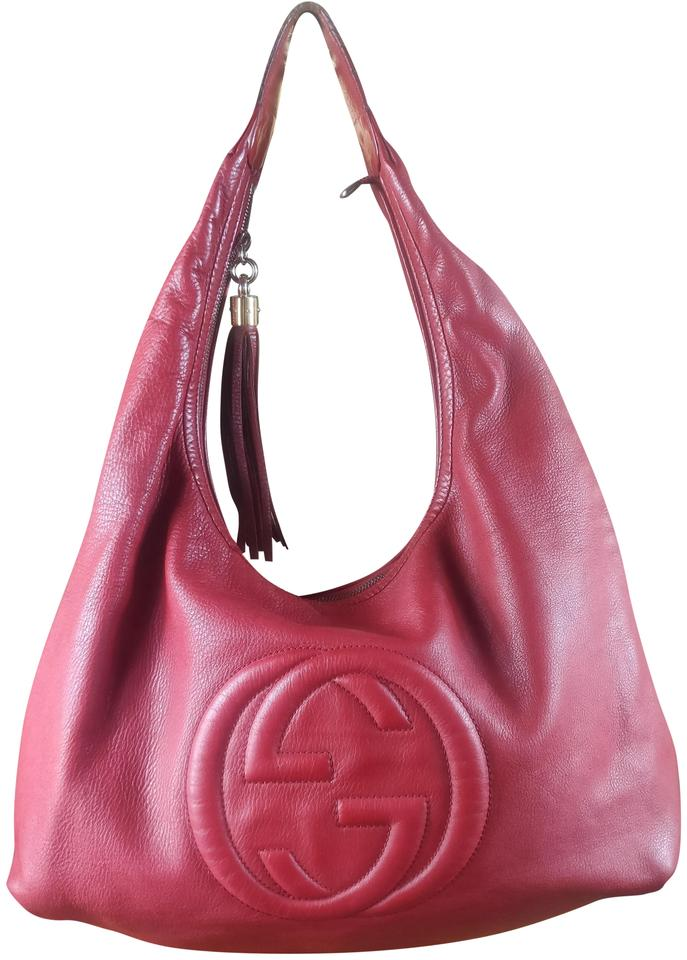 77e6ca99ae4b0 Gucci Soho Large Tassel Red and Gold Leather Hobo Bag - Tradesy