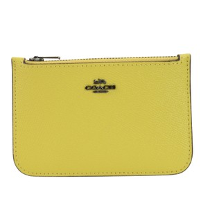 Coach Coach Pebble Leather Zip Card Case in Sunflower