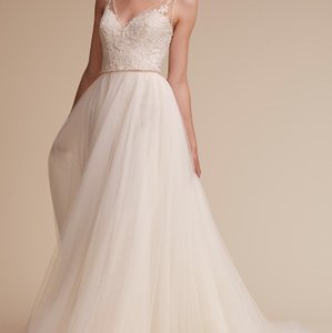 Watters Champagne Lining/Ivory Shell Polyester Tulle Skirt Cassia Gown Feminine Wedding Dress Size 10 (M)