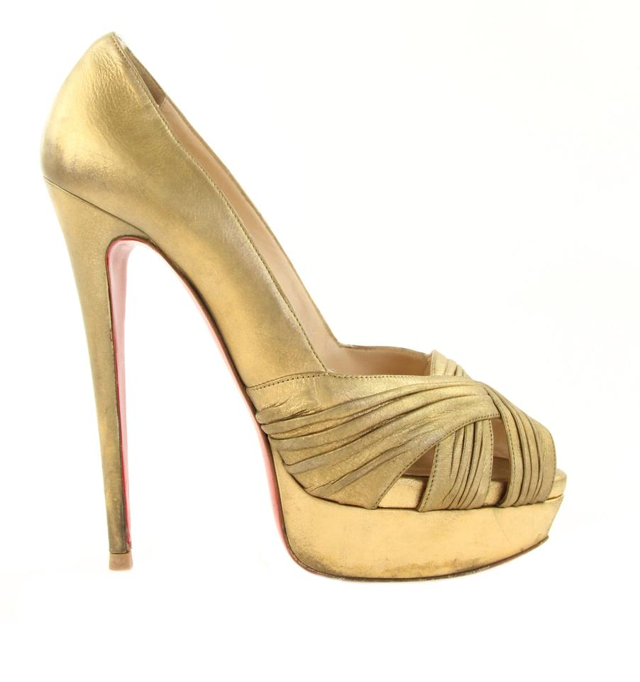 f6975b389f5e Christian Louboutin Gold Criss-cross Peep Toe Pumps. Size  EU 39 ...
