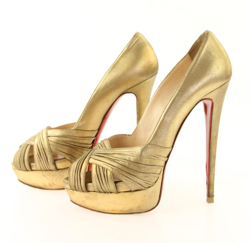 4e715d6442f2 Christian Louboutin Gold Criss-cross Peep Toe Pumps Size EU 39 (Approx. US  9) Regular (M