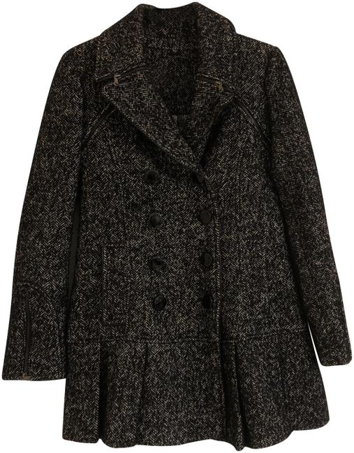 Item - Black/White Herringbone Coat Size 4 (S)